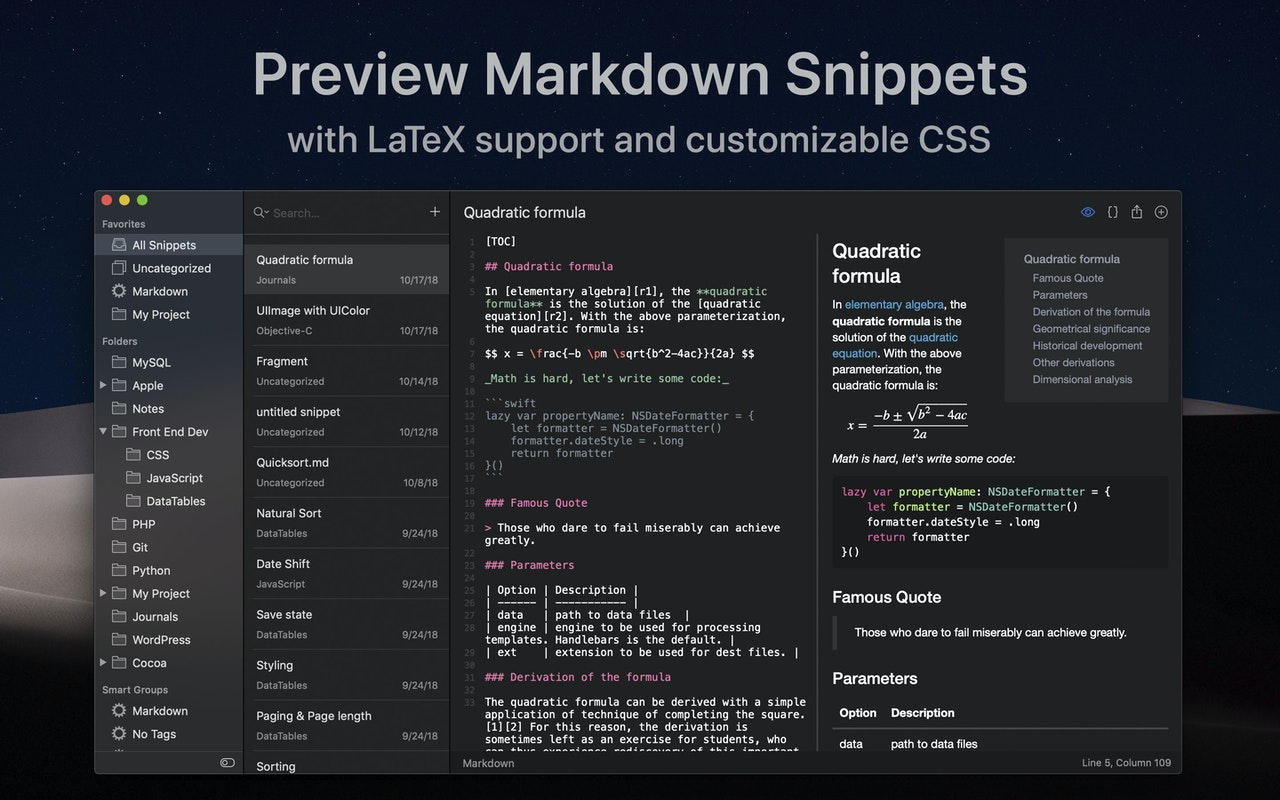 Preview markdown snippets