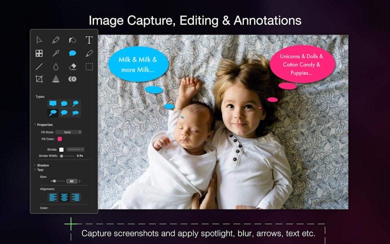 Captura de imágenes, edición, anotaciones. Realiza capturas de pantalla y aplica puntos resaltados, desenfoque, flechas y texto.