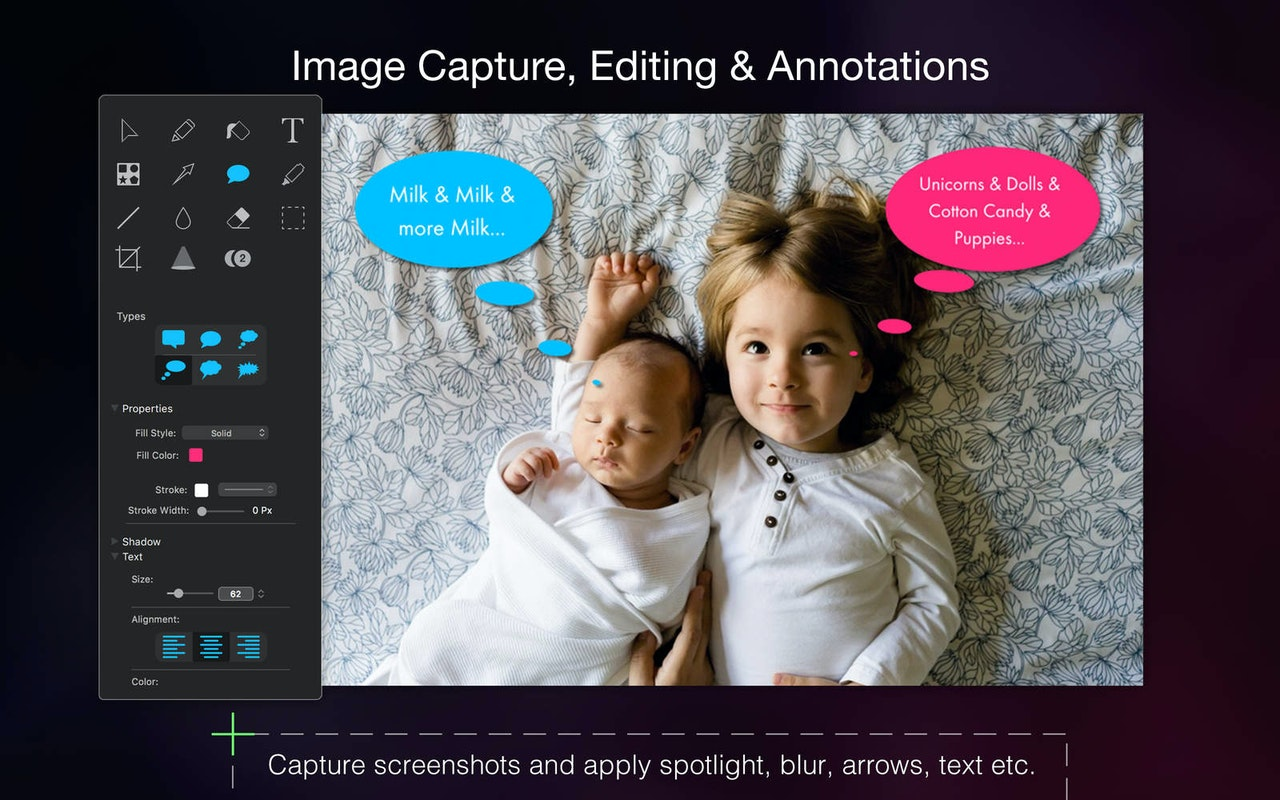 Image capture, editing, annotations. Capture screenshots and apply spotlight, blur, arrows, text.