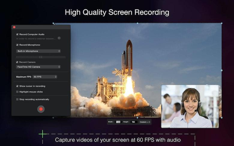 Grabación de pantalla en alta calidad. Graba vídeos de tu pantalla a 60 FPS con audio.