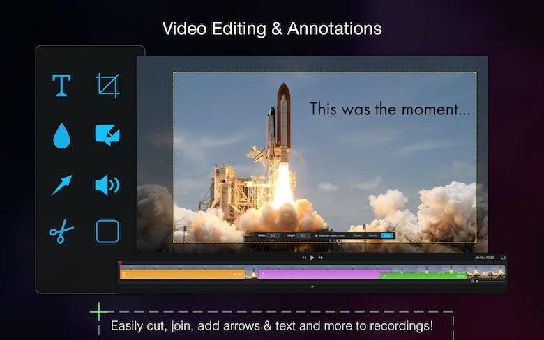 Edición de vídeo y anotaciones. Corta, une y añade flechas y texto a las grabaciones.