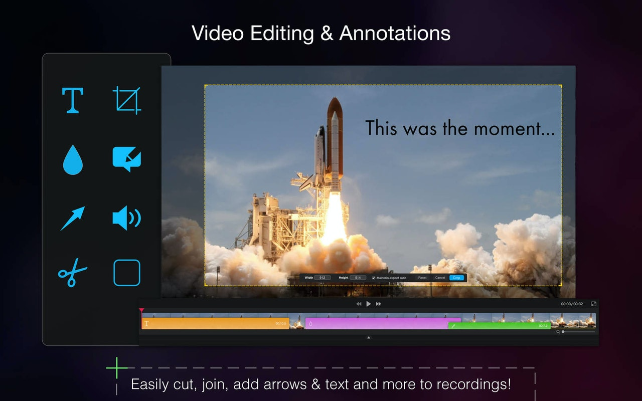 Video editing and annotations. Cut, join, add arrows and text to recordings.
