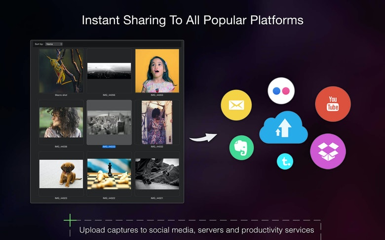 Instant sharing to all popular platform. Upload captures to social media, servers and productivity services.