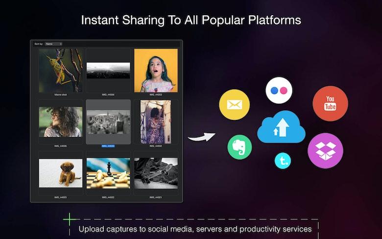 Comparte al instante en todas las principales plataformas. Sube capturas a redes sociales, servidores y servicios de productividad.