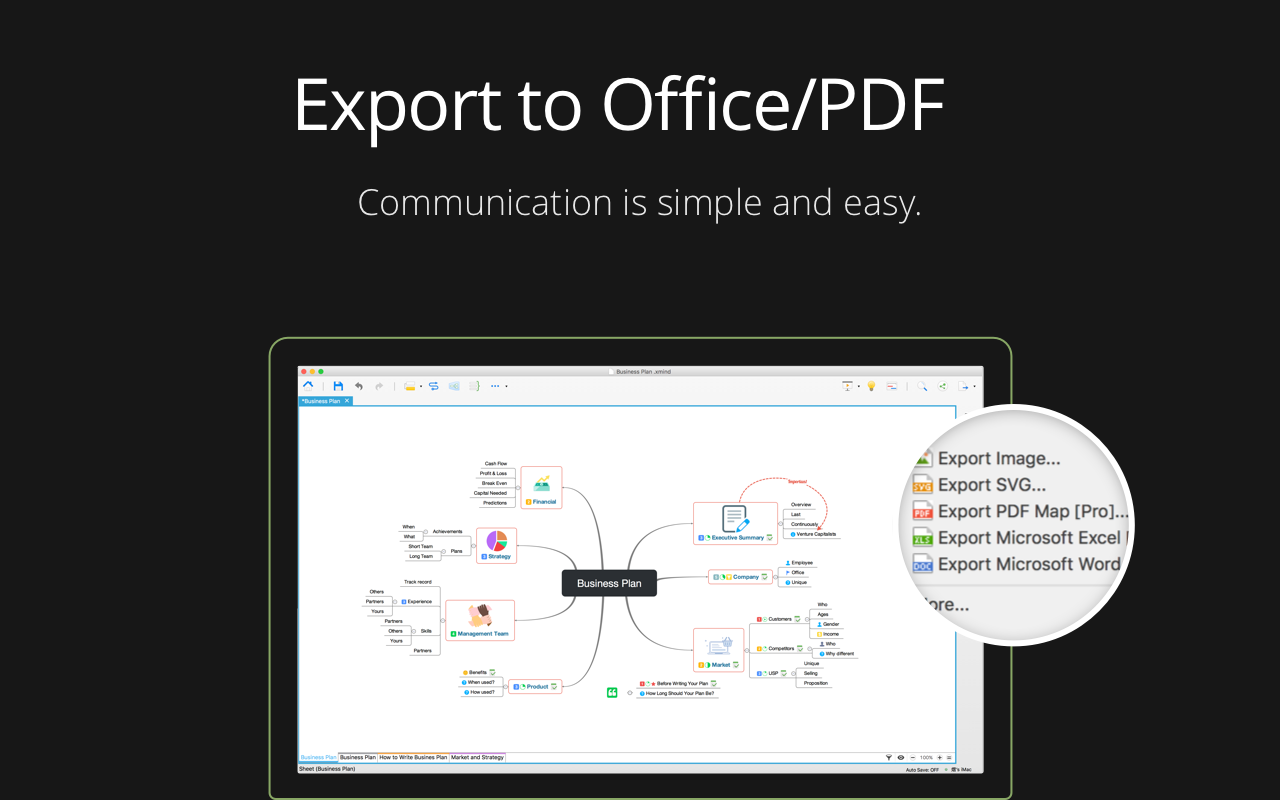 Export mind maps to Office, PDF, image.