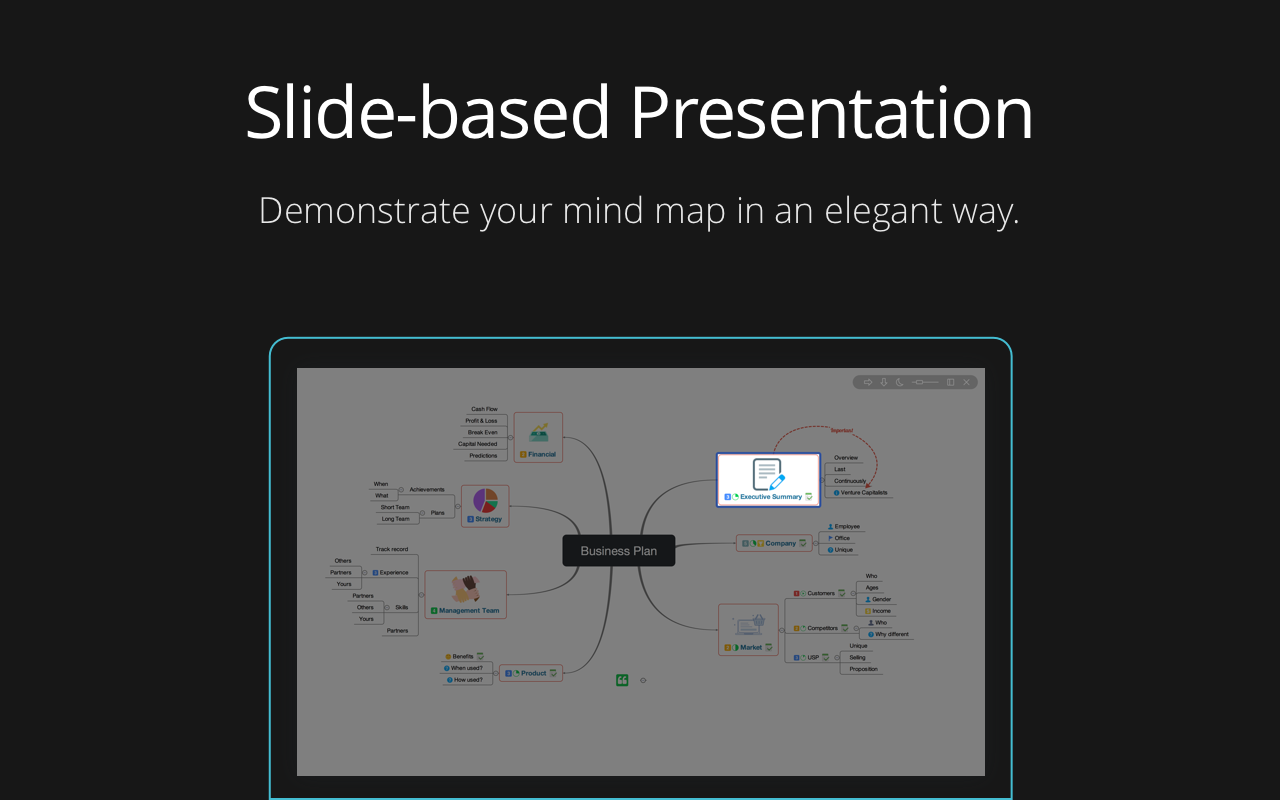 Slide-based presentation to demonstrate your mind map elegantly.