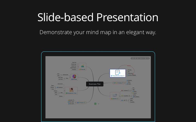 Slide-based presentation to demonstrate your mind map elegantly.