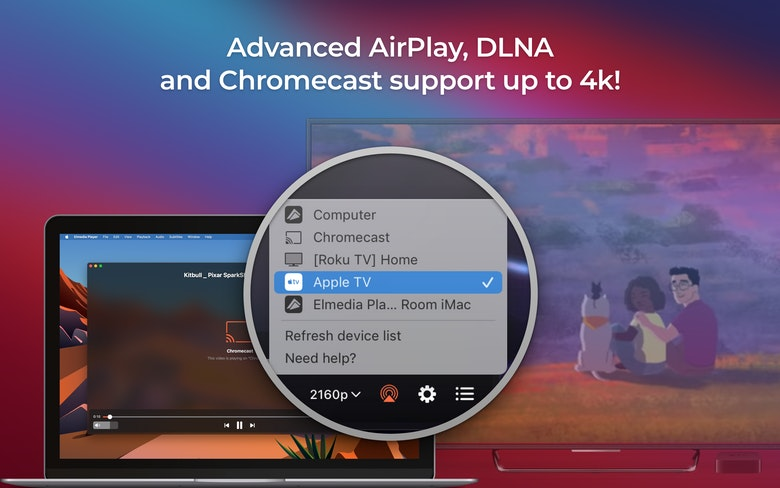 Advanced AirPlay, DLNA and Chromecast support up to 4k