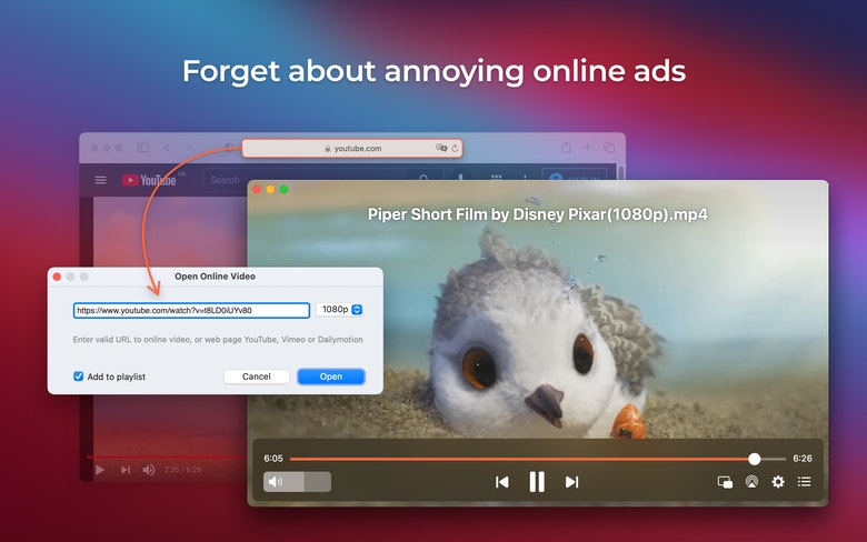 View videos without online ads