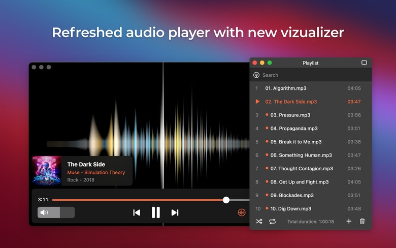 Refreshed audio player with new vizualizer
