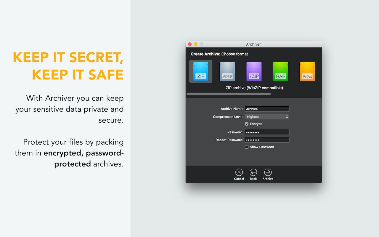Protect files by packing them in encrypted password protected archives.