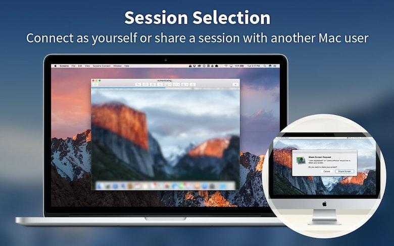 Selección de pantalla: inicia una conexión con tu cuenta o comparte una sesión con otro usuario de Mac.