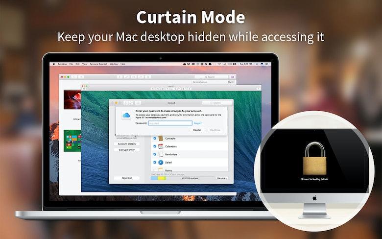 Masquez le bureau de votre Mac lorsque vous y accédez, avec le mode Rideau de Screens.