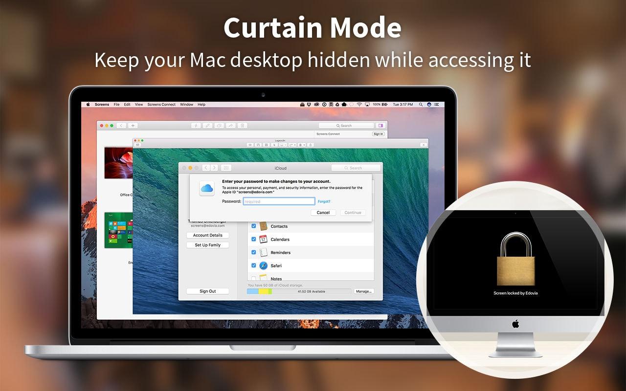 Mantieni la Scrivania nascosta quando accedi al tuo Mac: modalità tenda di Screens