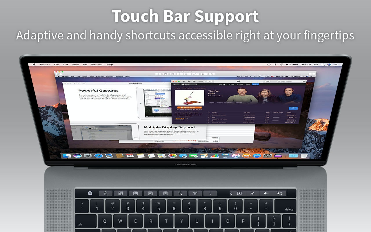 Compatibilidad con Touch Bar: prácticos atajos personalizables en el sitio más accesible.