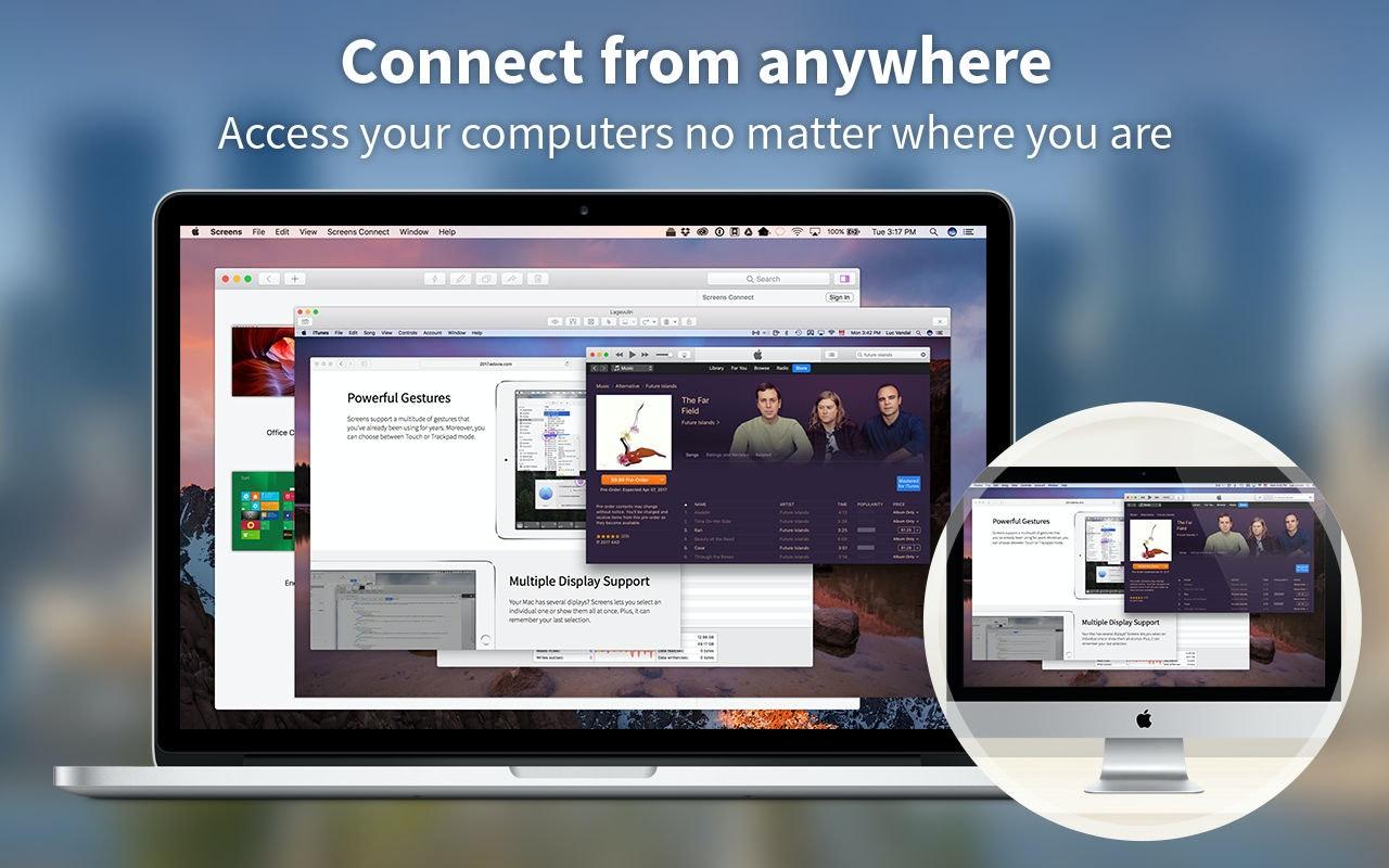 Connectez-vous où que vous soyez : accédez à distance à votre Mac, où que vous alliez.