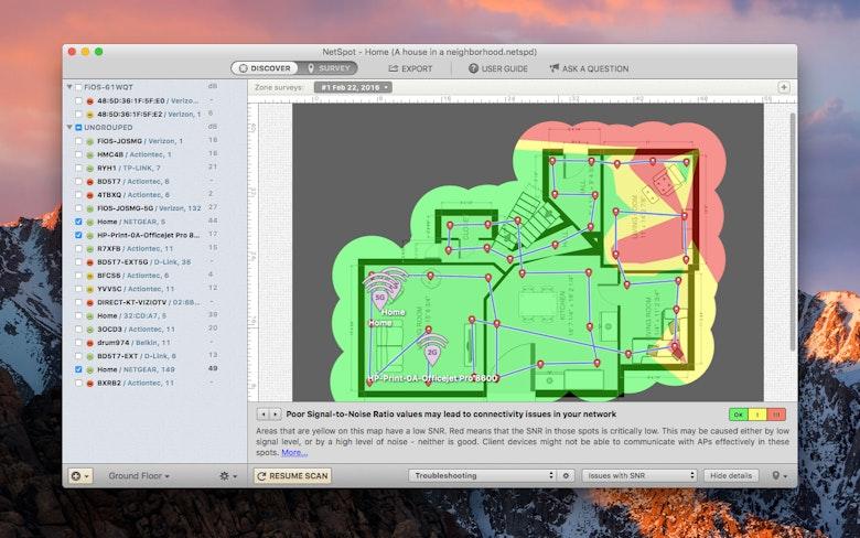 Le sondage de zone vous permet de créer des cartes colorées de dépannage et d'obtenir des recommandations complètes facilitant la résolution des problèmes de réseau Wi-Fi.