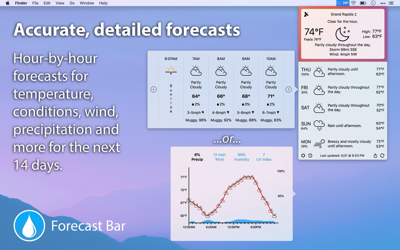 Forecast Bar on Setapp | The most convenient and detailed weather app