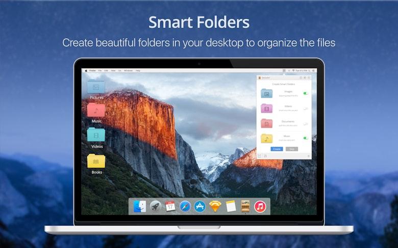 Carpetas inteligentes: crea elegantes carpetas en tu escritorio para organizar los archivos.