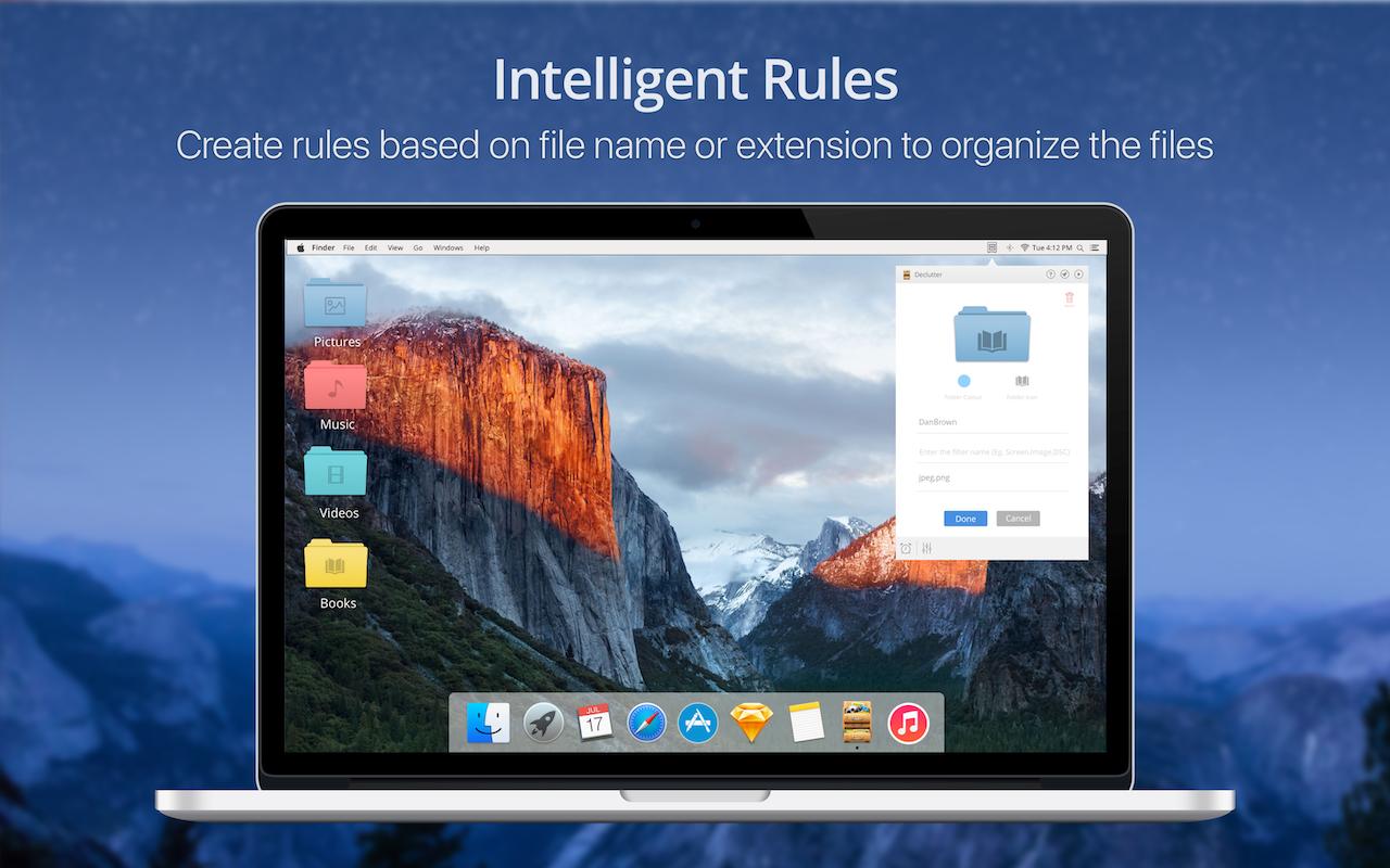 Intelligente Regeln – Erstelle Regeln, um Dateien nach Namen oder Typ zu sortieren.