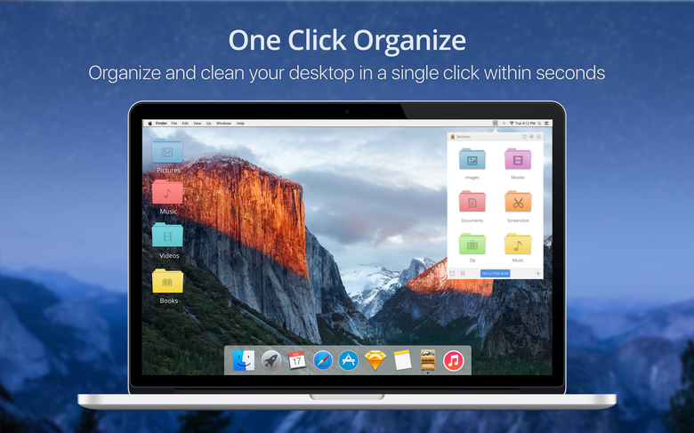 One click organize - Organize and clean your desktop in a single click within seconds