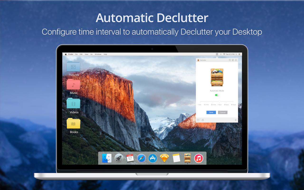 Automatisches Aufräumen – Stelle den Zeitraum ein, nach dem der Schreibtisch deines Macs automatisch aufgeräumt wird.