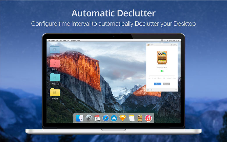 Automatic Declutter - Configure time interval to automatically declutter your Mac desktop