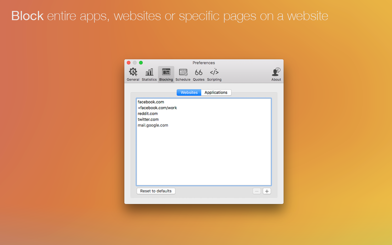 Bloquez intégralement des apps, des sites Web ou certaines pages d'un site.