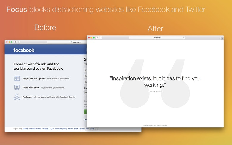 Focus blocks distracting websites like Facebook and Twitter.
