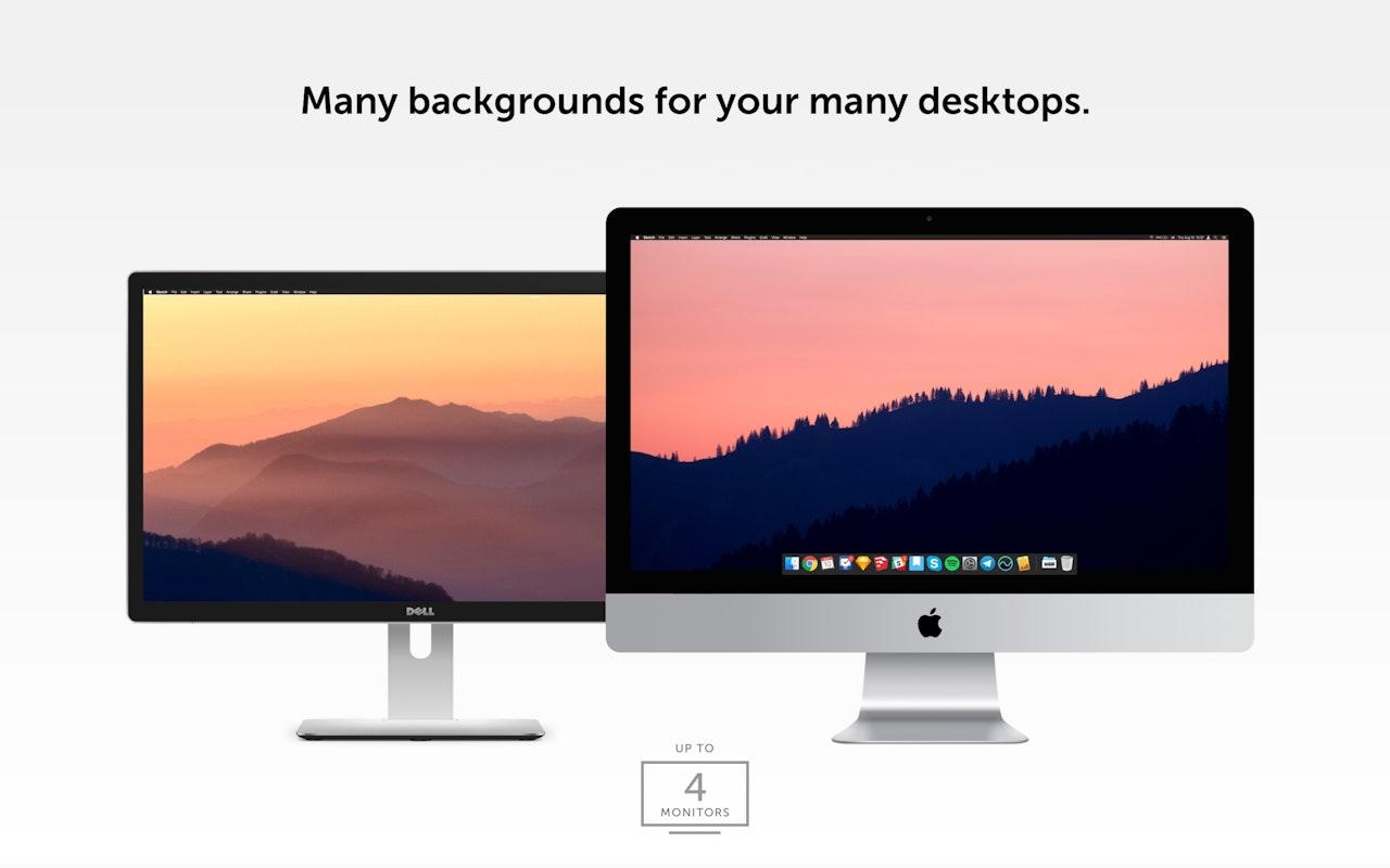 De nombreux fonds d'écran pour tous vos écrans (jusqu'à quatre moniteurs).