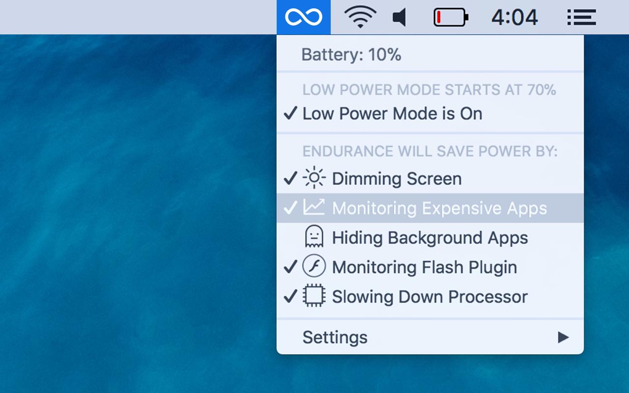 Endurance menu bar app