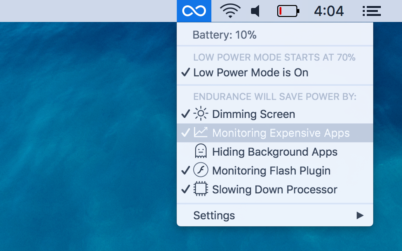 Endurance menu bar app