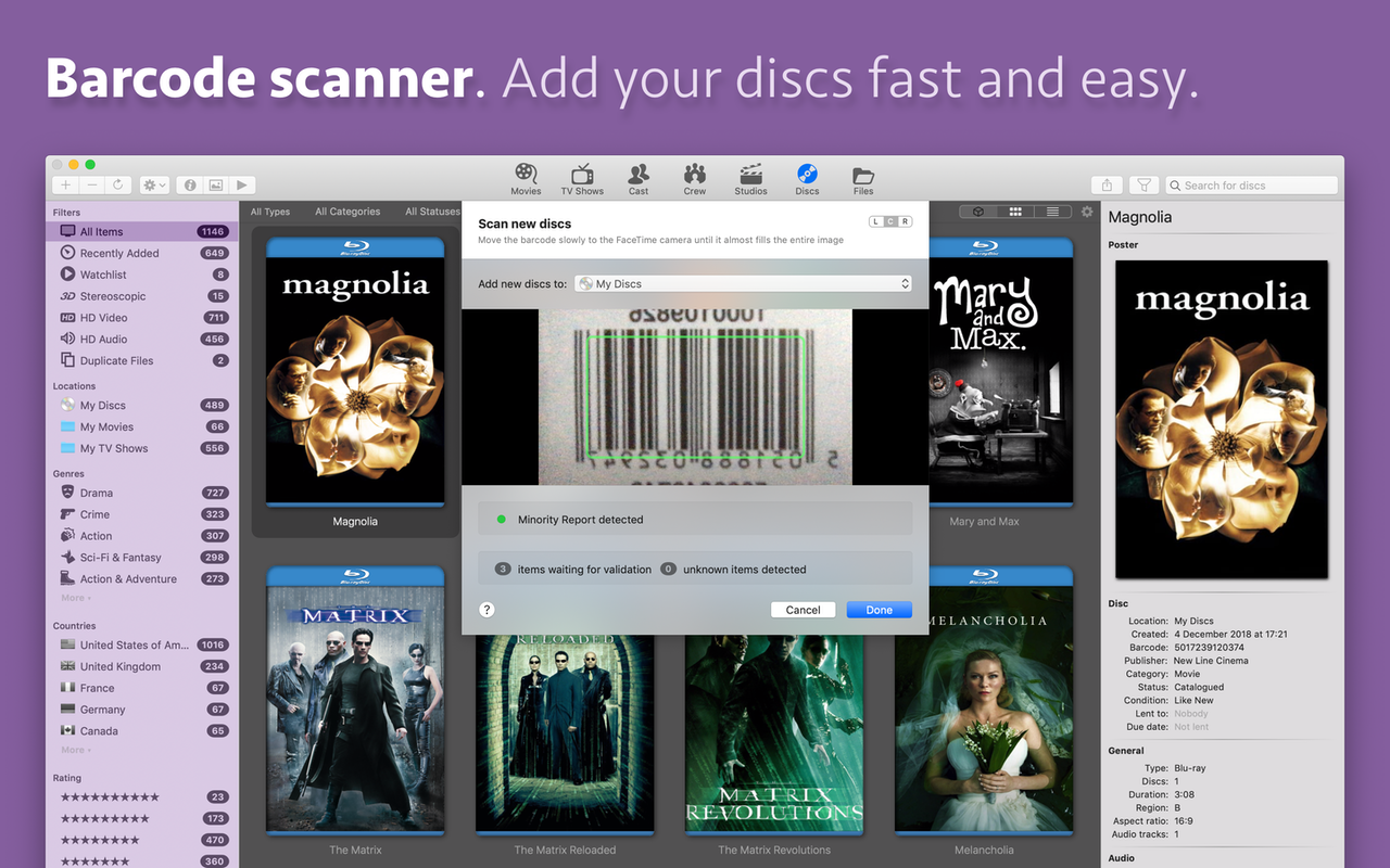 Add movies with barcode scanner
