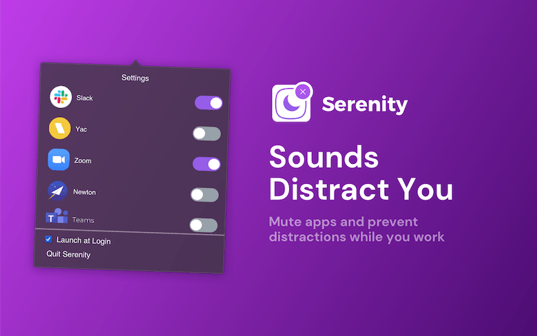 Mute apps and prevent distractions while you work