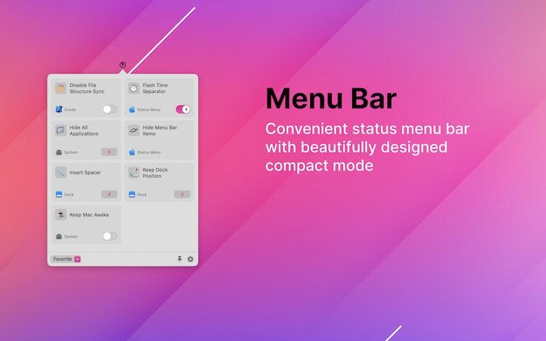 Convenient status menu bar with compact mode