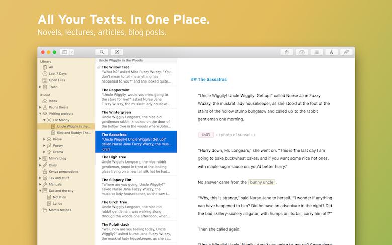 Centralisez tous vos textes avec la bibliothèque Ulysses.