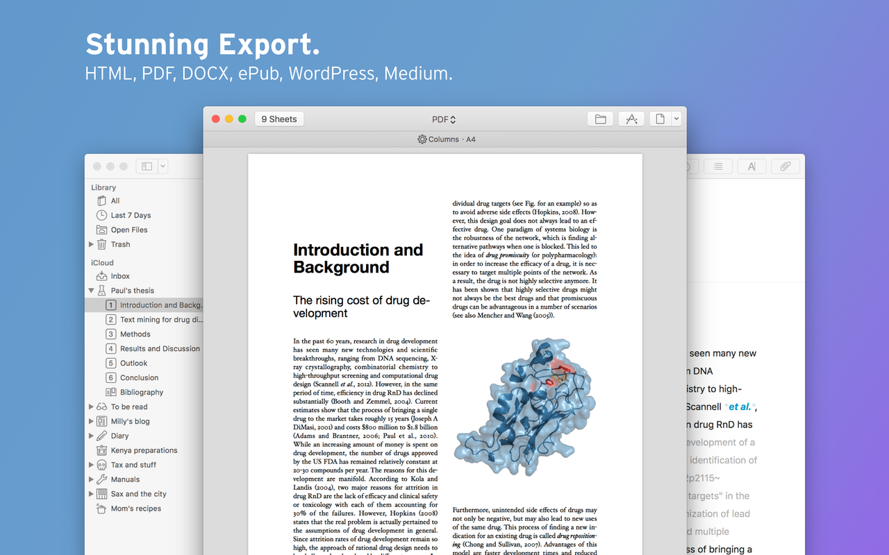 Export als HTML, PDF, DOCX, ePUB, WordPress, Medium.