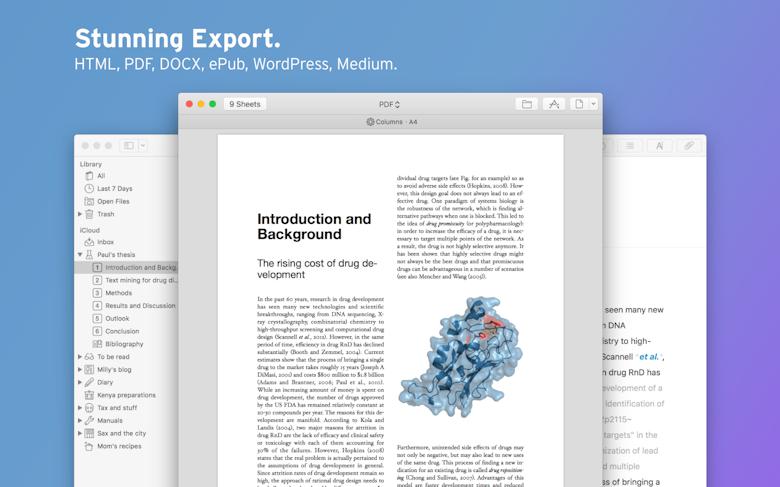 Fantastiques fonctions d'exportation de texte aux formats HTML, PDF, DOCX, ePUB, WordPress, Medium.