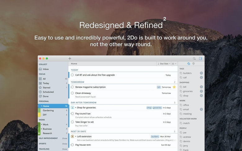 Become organized - keep related tasks and projects together.