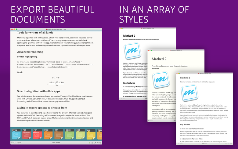 Export documents in an array of styles.