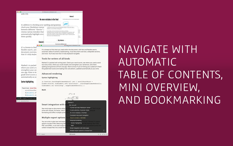 Navigate with automatic table of contents, mini overview, and bookmarking.