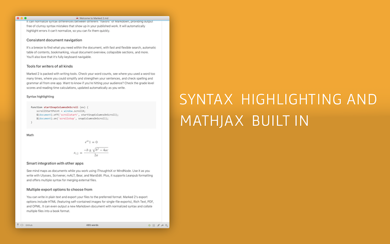 Syntax highlighting and mathjax built in.