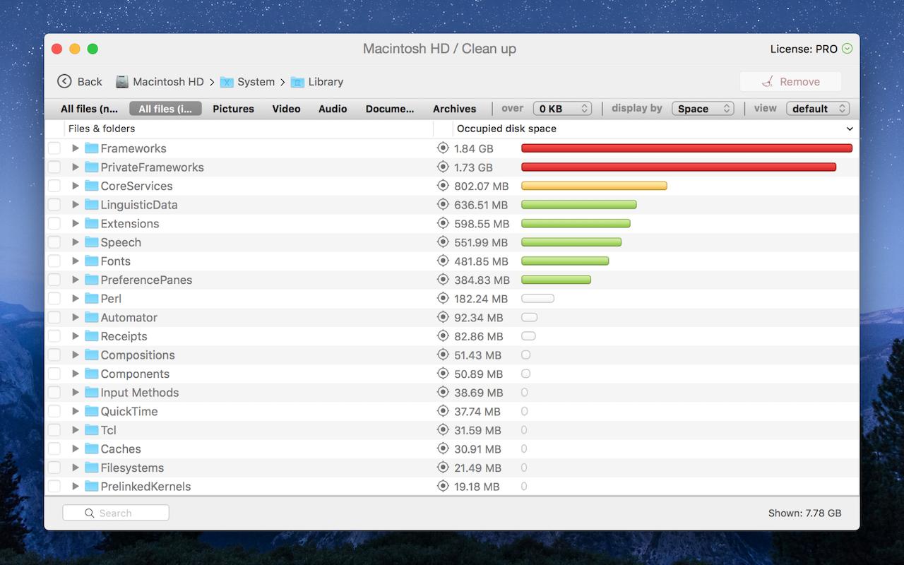 Clean Up – überprüfe die Festplatte und stelle fest, welche Dateien den meisten Speicherplatz einnehmen, um sie zu löschen oder auf ein anderes Laufwerk zu verschieben.