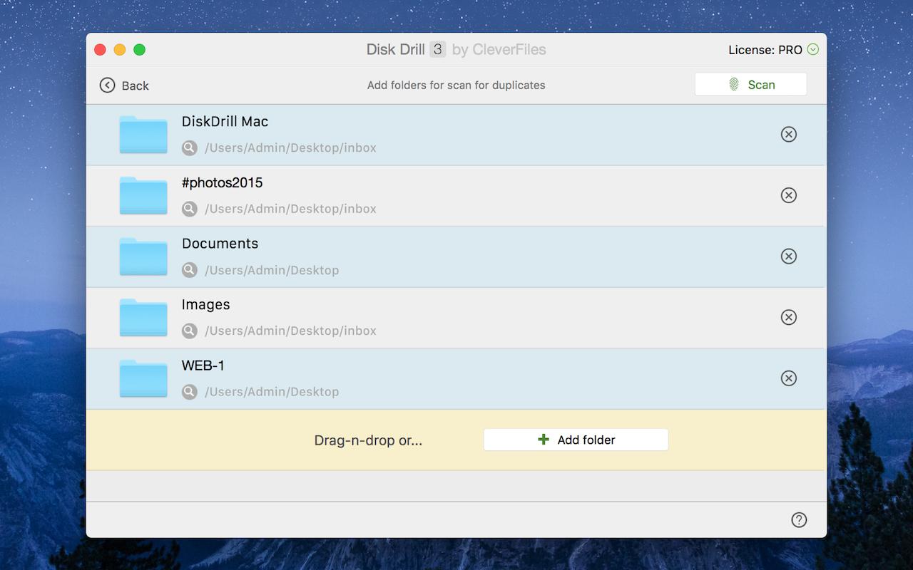 Función Buscador de duplicados para Mac de Disk Drill: analiza tu espacio de almacenamiento y elimina los archivos duplicados.