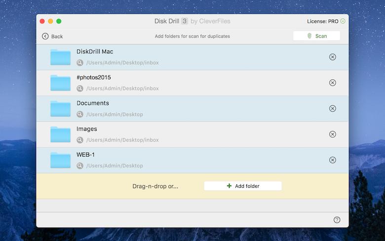 Recurso Duplicate Finder para Mac do Disk Drill - analise o espaço de armazenamento e remova arquivos duplicados.